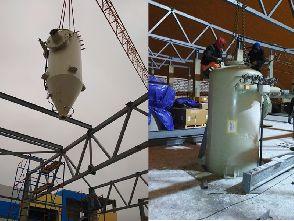 Работы по монтажу оборудования на строящемся заводе по производству лакокрасочных материалов.